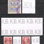 1) Øverst Københavns Belysningsvæsens prøvningsafgiftsmærke: Værdi 10 øre i farverne blå / gul med perfin K.B. perfinbilledet K 10.2 2) I midten: Aftryk 10 sæts perforatoren med perfinbilledet K 10 kun brugt til perforering af væsenets frimærker. 3) Nederst: Afa-numrene 527 og 432 perforeret med perfinbilledet K 10. 4) Prøvningsafgiftsmærkerne findes i to udgaver / størrelser og stort set i samme værdier og begge typer: Type 1 (lille størrelse) og Type 2 (stor størrelse) i et utal af farver brugt til forskellige formål alt afhængig af hvilken installationsform det var hvilket også fremgår af værdien på de påsatte mærker på de viste installationskort: Overgang fra jævnstrøm til Vekselstrøm, ekspederet u, prøve, færdigmeldelse for motorinstallation, lamper med årsafgift, erhvervstarif, måler nedtaget osv. osv.