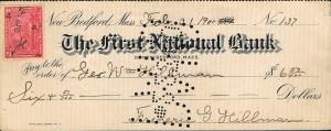 Check udstedt i New Bedford, Mass, den 21. februar år 1900 No.137 af The First National Bank påsat Two cents Battleship Documentary mærke (stempelmærke) i afgift til financiering af den Spansk-Amerikanske krig i 1898.