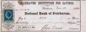 """Check udstedt i Fairhaven """"Fairhaven Institution For Savings"""" i år 1882 No.1023 af National Bank of Fairhaven påsat Two cents U.S. Inter Rev. (stempelmærke) i afgift til financiering af den Spansk-Amerikanske krig i 1898. Bemærk stemplet i lilla farve med """"PAID"""""""