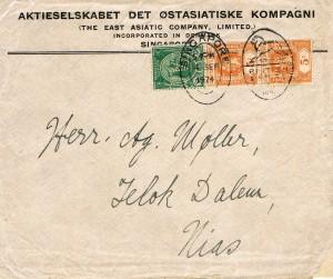 Billede 4: Her ovenover: Perfinbrev / Billede 4 og 5: Frankeret med to SG 157 / 37 / 5c. orange, 1902, og et SG 219 / 52 / 2c. grøn, 1919 (Stanley Gibbons). Afsendt fra Singapore (Straits Settlements) den 4. september 1924 af AKTIESELSKABET DET ØSTASIATISKE KOMPAGNI (The East Asiatic Company, Limited) INCORPORATED IN DENMARK, SINGAPORE til destination: Herr. Møller, Telokdalen, NIAS, (en Ø ved vestkysten af Sumatra, en del af Indonesien) med ankomst dertil den 23.september 1924 som det fremgår af ankomststemplet på bagsiden af brevet.