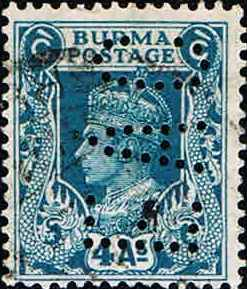 1) Perfinbilledet EAC 1, Burma, SG 45 / 3 / 4A blå, 1945. Stilling 8.