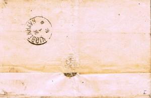 På bagsiden af brevet med ankomststemplet med stempel ANT V-3 / Brugsperiode: 3.7. 1861 – 1.4.1871.