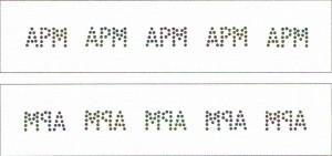 A 55 A.P. Møller Aftryk fra 5 sæts perforator med initialerne APM
