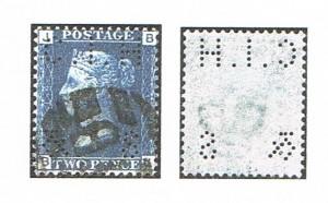 "2d Victoria Afa-Nr. 17, blå, 1865 perforeret med perfinbilledet"" C.I.H. og S"" fra firmaet C. J. Hambro & Son i London. Her det spejlvendte perfinbillede."