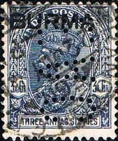 1a) Perfinbilledet EAC 1a, Burma / Indien. (Samme perfinbillede som i perfinbillede 1). Indisk frimærke SG 238 / 83 / 3½a blå, 1932, (her overtrykt Burma), brugt i Burma på SG 8 / 83 / 3½a, blå, 1937. Stilling 5.