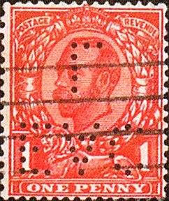 6) Perfinbilledet EAC/L, England / London, AFA 122 / 1d. Rød, type II, 1912. Stilling 7.