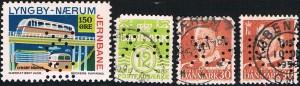 """Til venstre: Lyngby-Nærum banemærke perforeret med perfinbilledet RX. Mærket har Nr. 60 i """"Katalog over Danmarks Jernbanefrimærker"""" 150 øre, type F årgang 1955, takket 10 ¾. Tilhøjre herfor: Afa-numrene: 335, og 2 stk. 337, ligeledes perforeret med perfinbilledet RX."""