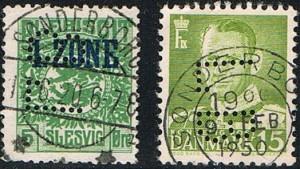 Perfinbilledet LB L 9.4 på Afa-Nr: 306 15 øre grøn og Slesvig Plebscitmærke 1. Zone Afa-Nr. 2, 5 øre grøn