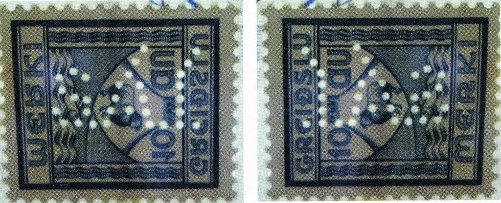 """Fig.2. og Fig. 2.1 To udsnit af """"Greiðslumerki"""" (afgiftsmærket). 10 Aur. 1935–41 her vist i overstørrelsen perforeret med perfinbilledet S.Á.Í., her vist retvendt og spejlvendt, fra regningen i Fig.1."""