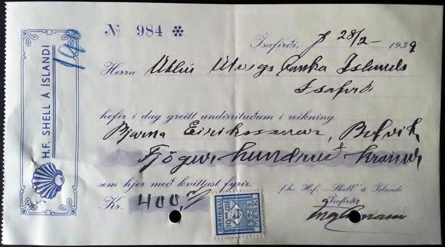 """Fig.1. Regning fra den 28/2 – 1939 med det påtrykte firmanavn H.F. SHELL Á ÍSLANDI, dokumentationen for, at det er dette firma der har brugt dette """"Greiðslumerki"""" (afgiftsmærket). 10 Aur. 1935–41 perforeret med perfinbilledet S.Á.Í."""